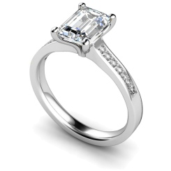 HRXSD609 Emerald Shoulder Diamond Ring - white