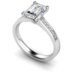 HRXSD609 Emerald Shoulder Diamond Ring - white