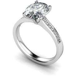 HRXSD612 Oval Shoulder Diamond Ring - white