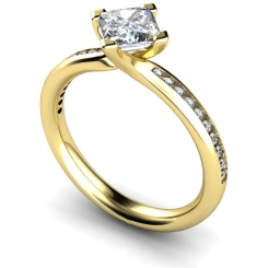 HRXSD623 Four Claws Crossover Setting Shoulder Diamond Ring - yellow