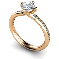 HRXSD623 Four Claws Crossover Setting Shoulder Diamond Ring - rose