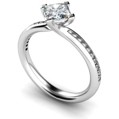 HRXSD623 Four Claws Crossover Setting Shoulder Diamond Ring - white