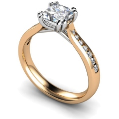 HRXSD628 Princess Shoulder Diamond Ring - rose