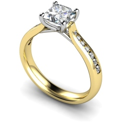 HRXSD630 Crossover Setting Princess cut Shoulder Diamond Ring - yellow