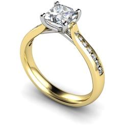 HRXSD630 Crossover Setting Princess cut Shoulder Diamond Ring - yellow