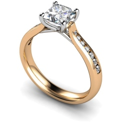 HRXSD630 Crossover Setting Princess cut Shoulder Diamond Ring - rose
