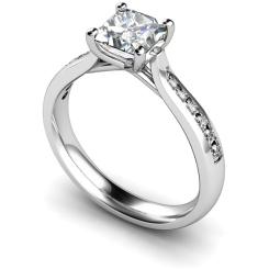 HRXSD630 Crossover Setting Princess cut Shoulder Diamond Ring - white