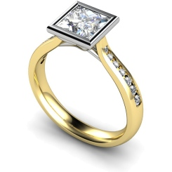 HRXSD632 Princess  Shoulder Diamond Ring - yellow