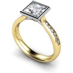 HRXSD632 Princess  Shoulder Diamond Ring - yellow