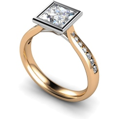 HRXSD632 Princess  Shoulder Diamond Ring - rose