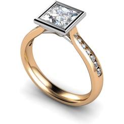 HRXSD632 Princess  Shoulder Diamond Ring - rose