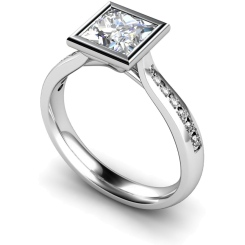 HRXSD632 Princess  Shoulder Diamond Ring - white