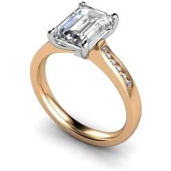 HRXSD633 Emerald Shoulder Diamond Ring - rose