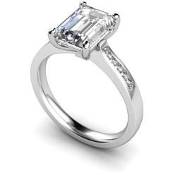 HRXSD633 Emerald Shoulder Diamond Ring - white