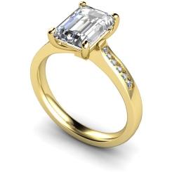 HRXSD633 Emerald Shoulder Diamond Ring - yellow