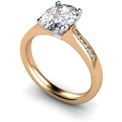 HRXSD634 Oval Shoulder Diamond Ring - rose