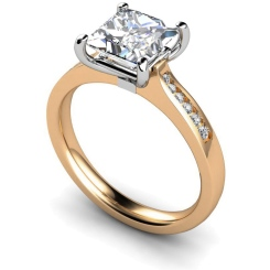 HRXSD635 Princess Shoulder Diamond Ring - rose