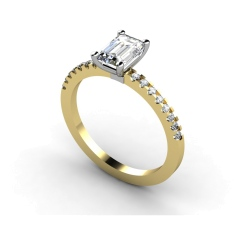 HRXSD646 Emerald Shoulder Diamond Ring - yellow