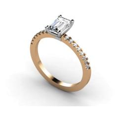 HRXSD646 Emerald Shoulder Diamond Ring - rose