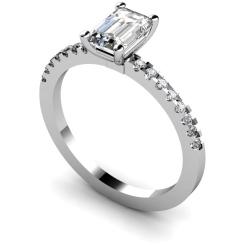 HRXSD646 Emerald Shoulder Diamond Ring - white