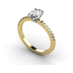 HRXSD647 Oval Shoulder Diamond Ring - yellow