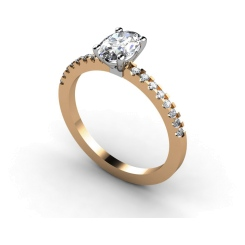 HRXSD647 Oval Shoulder Diamond Ring - rose