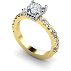 HRXSD649 Princess Shoulder Diamond Ring - yellow