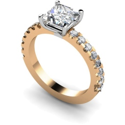 HRXSD649 Princess Shoulder Diamond Ring - rose