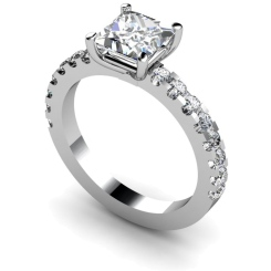 HRXSD649 Princess Shoulder Diamond Ring - white