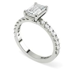 HRXSD650 Emerald Shoulder Diamond Ring - white