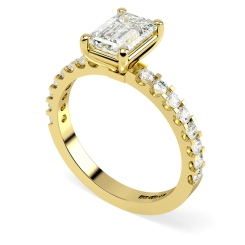 HRXSD650 Emerald Shoulder Diamond Ring - yellow