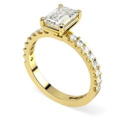 HRXSD650 Emerald Shoulder Diamond Ring - yellow