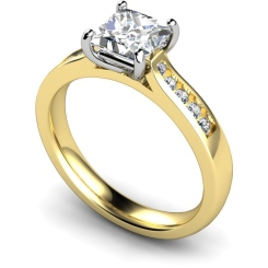 HRXSD653 4 Prong Princess cut Shoulder Diamond Ring - yellow