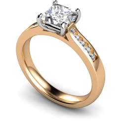 HRXSD653 4 Prong Princess cut Shoulder Diamond Ring - rose