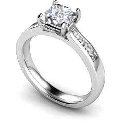 HRXSD653 4 Prong Princess cut Shoulder Diamond Ring - white