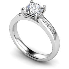 HRXSD653 4 Prong Princess cut Shoulder Diamond Ring - white