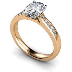 HRXSD654 Oval Shoulder Diamond Ring - rose