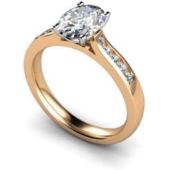HRXSD654 Oval Shoulder Diamond Ring - rose