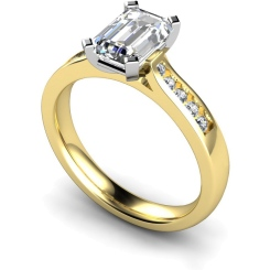 HRXSD655 Emerald Shoulder Diamond Ring - yellow