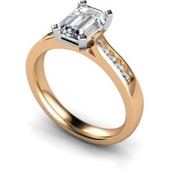 HRXSD655 Emerald Shoulder Diamond Ring - rose