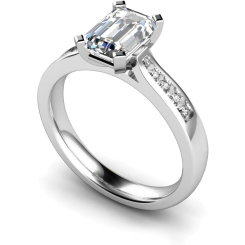 HRXSD655 Emerald Shoulder Diamond Ring - white
