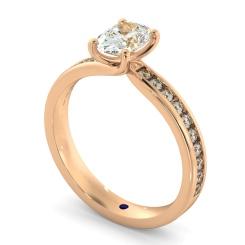 HRXSD656 Oval Shoulder Diamond Ring - rose