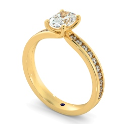 HRXSD656 Oval Shoulder Diamond Ring - yellow