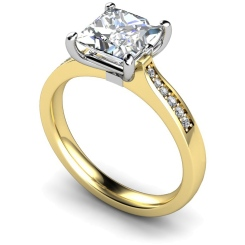HRXSD659 Four Prongs Princess cut Grain Set Shoulder Diamond Ring - yellow