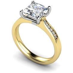HRXSD659 Four Prongs Princess cut Grain Set Shoulder Diamond Ring - yellow