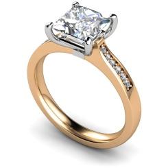 HRXSD659 Four Prongs Princess cut Grain Set Shoulder Diamond Ring - rose