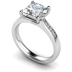 HRXSD659 Four Prongs Princess cut Grain Set Shoulder Diamond Ring - white