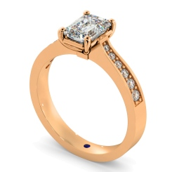 HRXSD670 Emerald cut Diamond Ring with Grain Set Accent Stones - rose