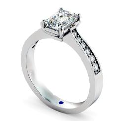 HRXSD670 Emerald cut Diamond Ring with Grain Set Accent Stones - white