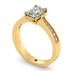 HRXSD670 Emerald cut Diamond Ring with Grain Set Accent Stones - yellow